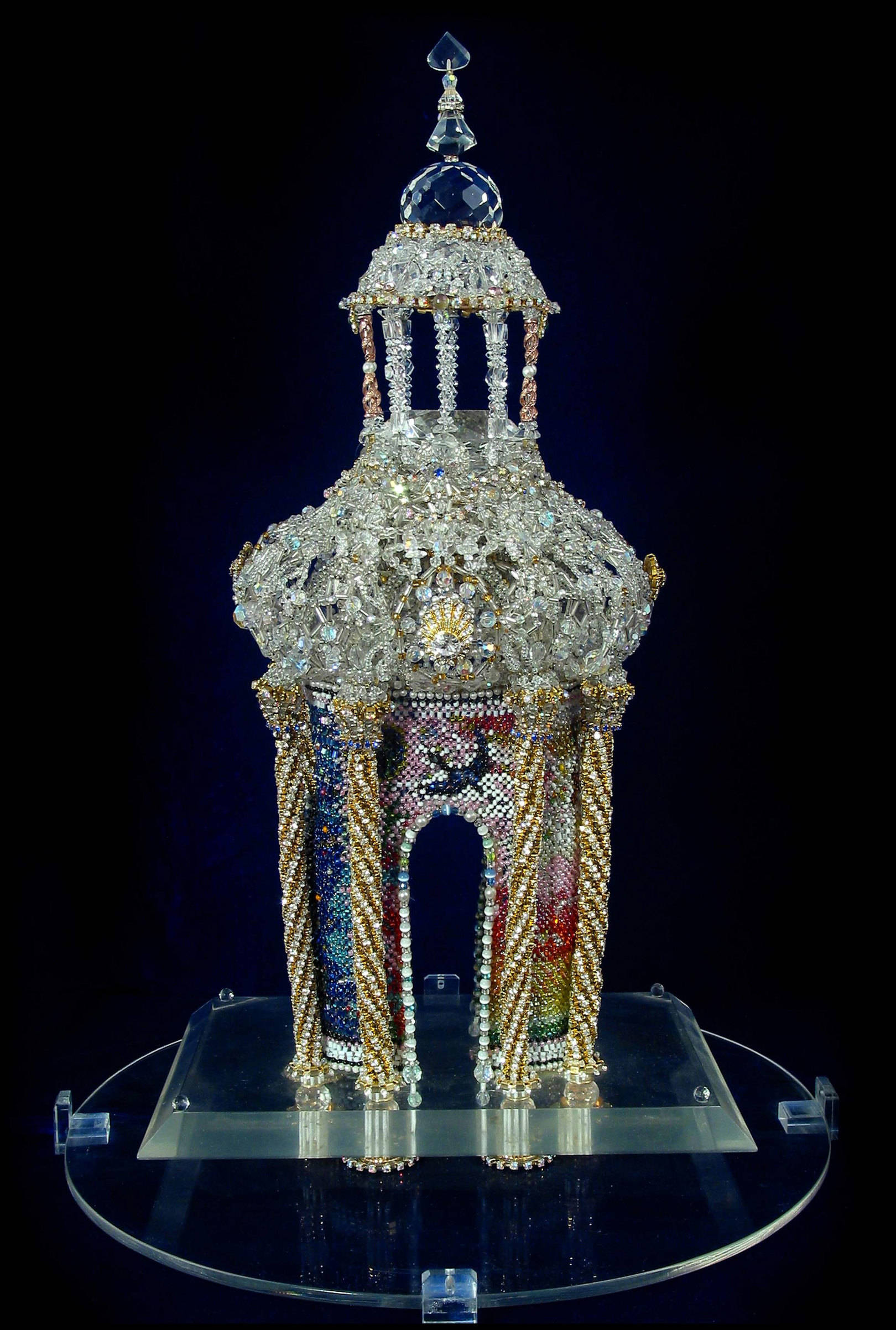 «THE TEMPLE OF THE FOUR ELEMENTS» Beads, crystals, Swarovski crystals, rock crystal , glass, tiger's eye. Size: 240 x 170 x 460 mm. Package: 330 mm (diameter), 564 mm (height).