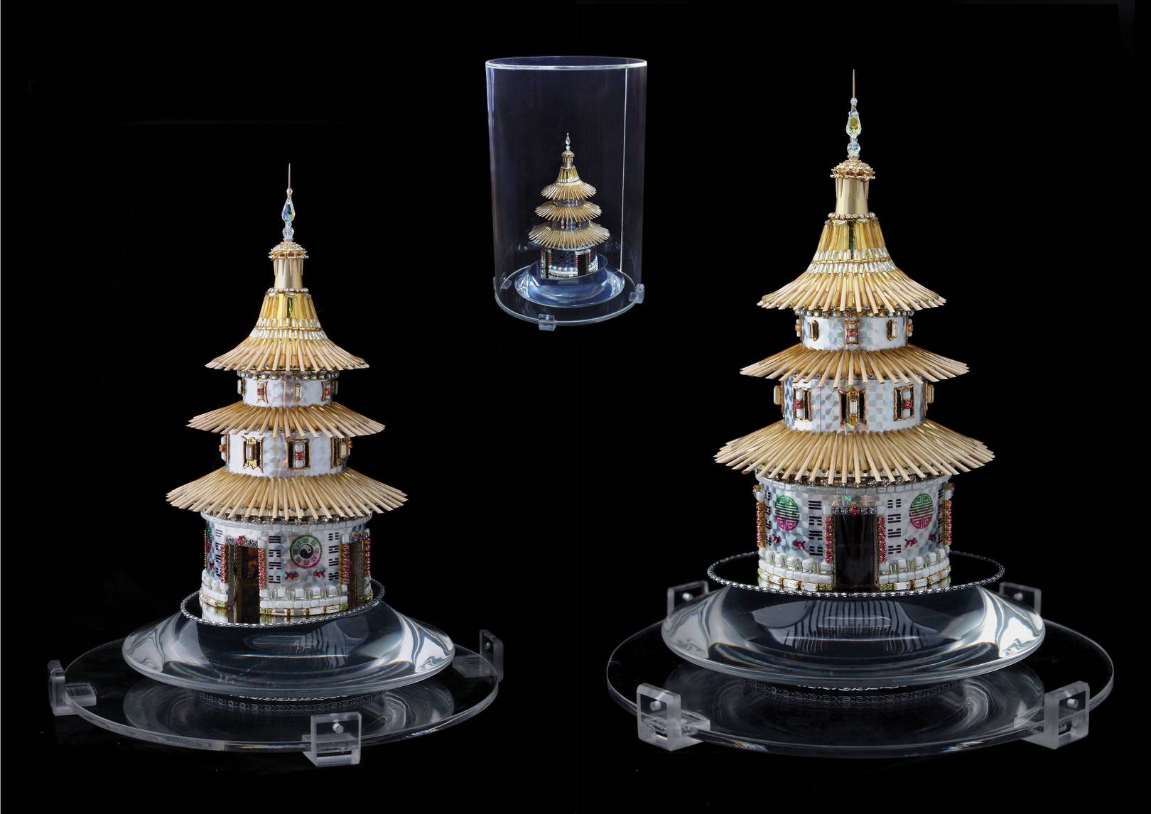 «TEMPLE OF THE FIRST PANGU» Beads, crystals, Swarovski crystals, computer graphics, beech. With illumination. Diameter-180 mm, height-230.  Package: 225 mm (diameter), 360 mm (height).