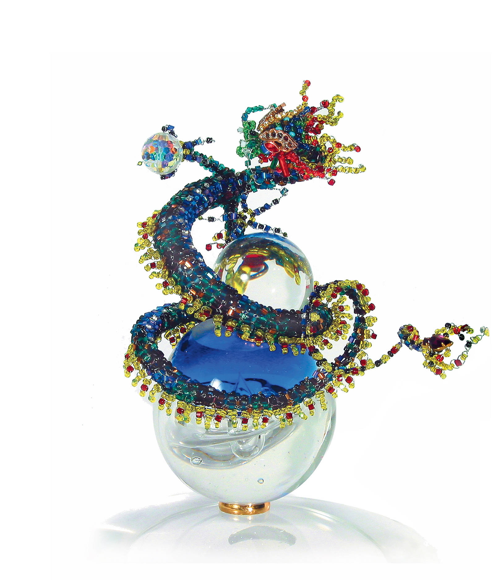 THE DRAGON OF A NEW MILLENIUM» Beads, rock crystal, glass, Swarovski; О-210 mm, H-210 mm. Package: 220 mm (diameter), 360 mm (height).